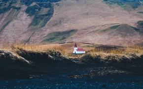 Picture land, mountain, hills, Iceland, building, church, construction, soil, Vik, Vik in Myrdal