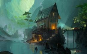 Picture machine, light, bridge, river, stones, smoke, House, ladder, gorge, hut, twilight