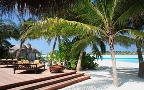 Picture sand, the sun, palm trees, Sea, stage, the hotel, resort