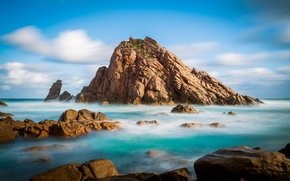 Picture sea, the sky, clouds, rock, stones, island