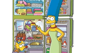 Picture food, refrigerator, Maggie, The Simpsons, Marge