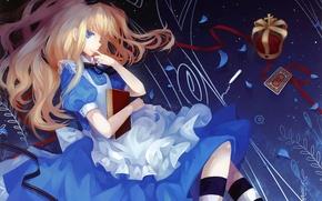 Picture girl, map, crown, Alice, book, Alice in Wonderland, art, Alice, Dhiea, Alice wonderland