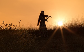 Picture field, grass, girl, sunset, mood, violin, the evening, dress, silhouette, the rays of the sun