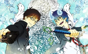 Picture weapons, background, patterns, art, guys, Ao no Exorcist, Rin, Yukio, blue exorcist