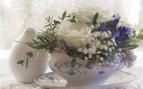 Picture flowers, roses, bouquet, texture, art, vase, bells, gypsophila
