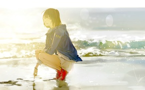 Picture sea, look, girl, rays, squirt, shore, anime