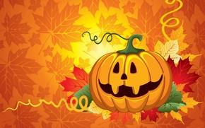 Picture leaves, pumpkin, Halloween, halloween