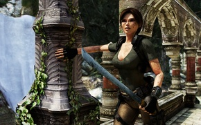 Picture girl, nature, fiction, sword, columns, Tomb Raider, Lara Croft, Pajic