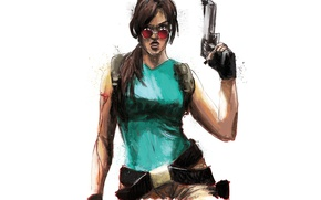 Picture Glasses, Weapons, Tomb Raider, Lara Croft, Game, Lara Croft