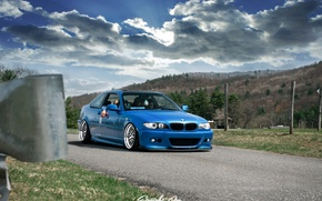 Picture tuning, bmw, BMW, wheels, blue, tuning, power, germany, low, stance, e46