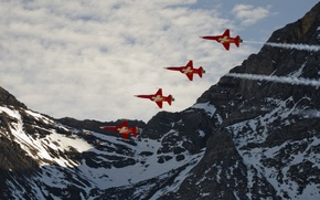 Picture the sky, mountains, Alps, aircraft, The Swiss air force, light multi-purpose fighters, Northrop F-5 freedom …