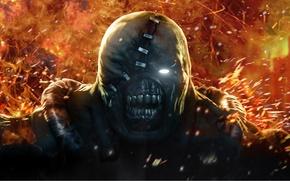 Wallpaper Look, Fire, Teeth, Resident Evil, Scar, Nemesis, Umbrella, Nemesis, Resident Evil: Operation Raccoon City, BIOHAZARD