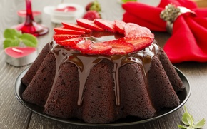 Picture cake, cake, cakes, dessert, glaze, berries, cupcake, chocolate