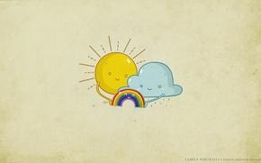 Picture the sun, joy, family, Rainbow, cloud