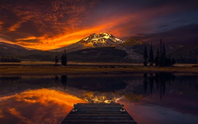 Picture the sky, water, trees, landscape, mountains, the evening, twilight