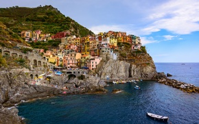 Picture sea, landscape, rocks, coast, building, boats, Italy, panorama, Italy, The Ligurian sea, Manarola, Manarola, Cinque ...