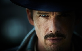 Picture mustache, look, fiction, hat, bokeh, closeup, Ethan Hawke, Ethan Hawke, The Bartender, Predestination, Patrol time