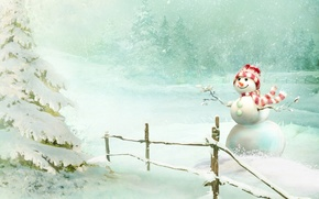 Picture forest, snow, smile, snowman, tree, scarf, snowfall