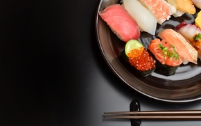 Picture cuts, caviar, food, black background, seafood, fillet, fish, sushi