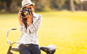 Picture greens, girl, bike, smile, hat, the camera, brown hair
