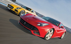 Picture Mercedes-Benz, Ferrari, Mercedes, Ferrari, AMG, SLS, the front, supercars, berlinetta, F12