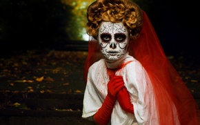 Picture girl, holiday, mask, hairstyle, Halloween