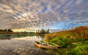 Picture autumn, grass, sunset, shore, village, boats, the evening, Church, river
