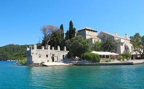 Picture lake, island, the monastery, Croatia, Mlet
