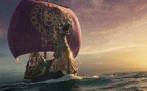Wallpaper sea, ship, sails