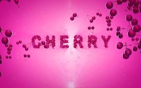 Picture cherry, berries, pink, the inscription, cherry, chereshnya