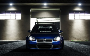 Picture blue, tuning, volkswagen, Golf, R32, golf, the front, gti