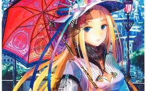 Picture home, umbrella, girl, lantern, hat, blue eyes, veil, art, fuzichoco (fujiwara)