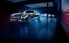 Picture Roadster, Mercedes-Benz, Front, AMG, SLS, White, Grey, Side, Supercars, GT S