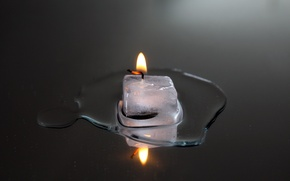 Wallpaper candle, ice, fire