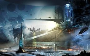 Picture building, ships, art, the city of the future