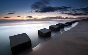 Picture sea, landscape, plate, England, Blyth