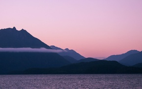 Picture sunset, mountains, lake, british columbia, vancouver island, Kennedy Lake