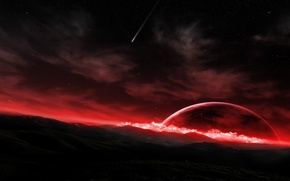 Picture surface, meteor, the red planet