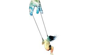 Picture fantasy, swing, hand, minimalism, girl