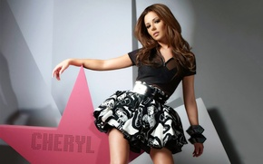Picture the inscription, woman, beautiful, Cheryl Cole, Girls Aloud, group, sings, vocalist, solo, the star., cheryl