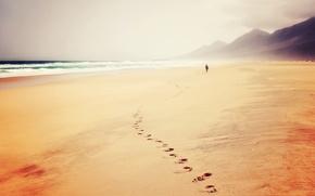 Picture waves, beach, sea, ocean, hills, man, sand, trail, seaside, footprints