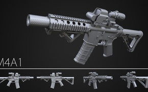 Picture design, assault rifle, M3a1