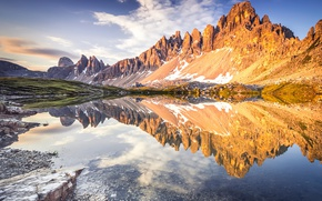 Picture the sky, clouds, reflection, mountains, nature, Alps
