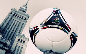 Wallpaper sign, football, the ball, the building, watch, Windows, tower, logo, leather, Warsaw, Euro, emblem, 2012, ...