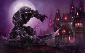 Wallpaper the robber, world of warcraft, Worgen, warrior, the city, rain