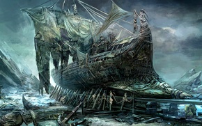 Picture ship, destruction, twilight, abandoned, anchor, the Witcher, damn place, torn sails
