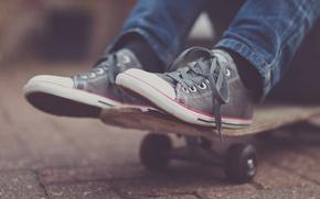 Picture asphalt, sneakers, skateboard