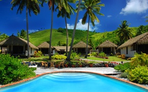 Picture palm trees, pool, the hotel, exotic, Bungalow