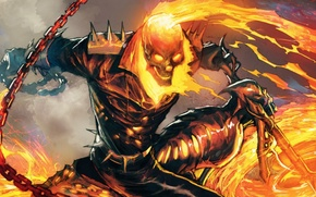 Picture fire, sake, flame, Ghost Rider, Marvel, comics, hell, blaze, byke