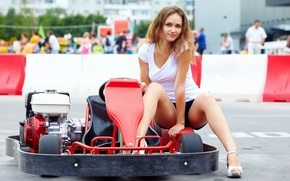 Picture devushka, karting, krasivaia